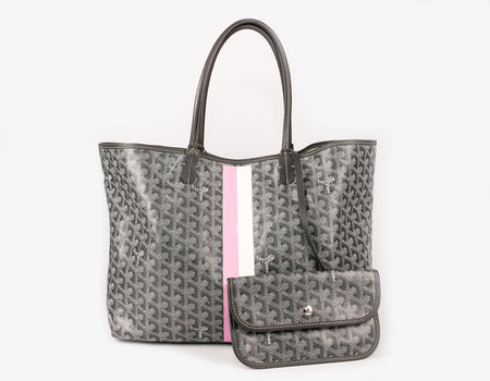 Goyard Grey Monogram Pink/White Stripe Coated Linen Saint Louis PM Bag
