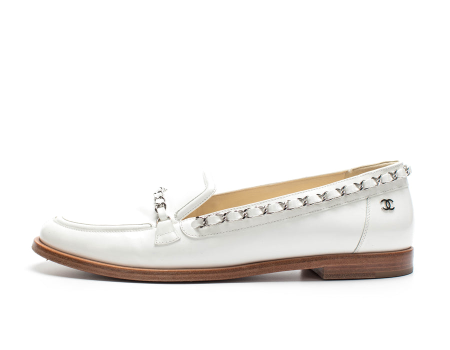 Chanel White Patent Leather Loafers Sz 39.5
