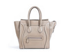 Celine Taupe Drummed Leather Mini Luggage Bag
