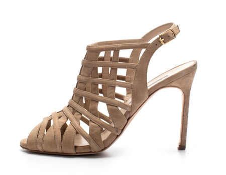Manolo Blahnik Natural Dance Suede Cage High-Heel Sandals Sz 39