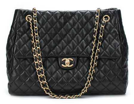 Chanel Black Lambskin Fluffy CC Shopping Tote Bag 30cm