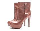 Louis Vuitton Brown Leather Ankle Booties Sz 38.5