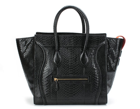 Celine Black Python Mini Luggage Bag