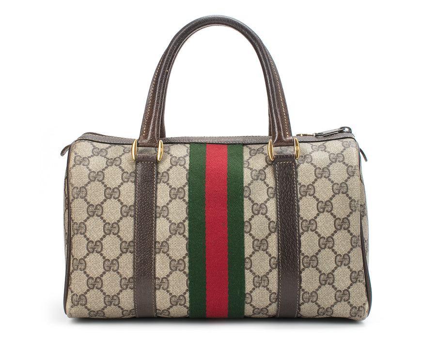 Gucci Beige Monogram Canvas Web Stripe Boston Bag