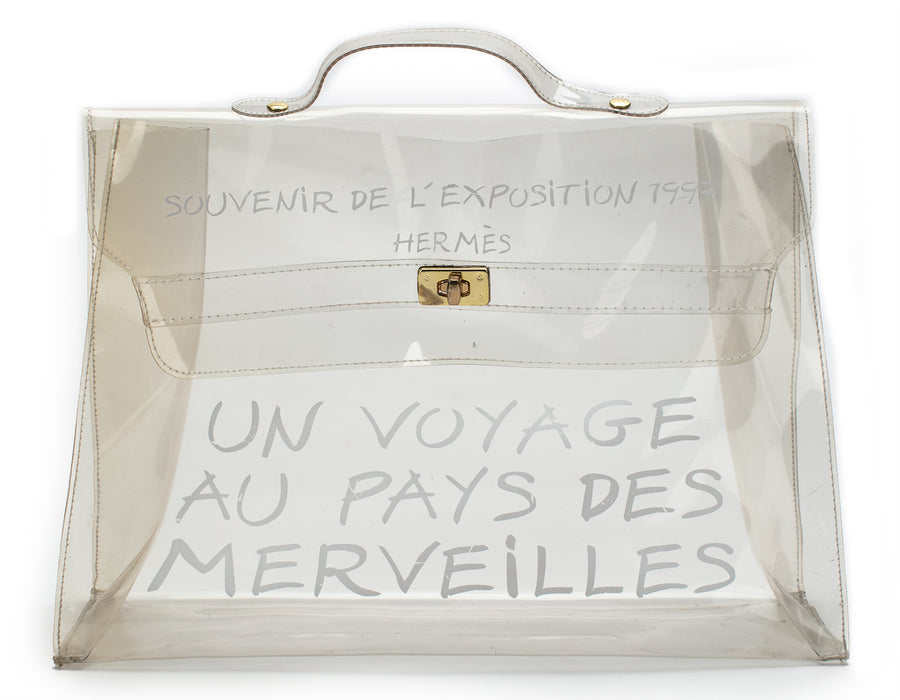 Hermes Clear Vinyl Souvenir de l'Exposition Kelly Bag