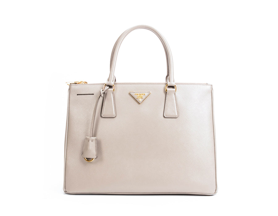 6a5cdfbdd52a Prada Argilla Saffiano Medium Double Zip Executive Tote Bag – Bella Bag