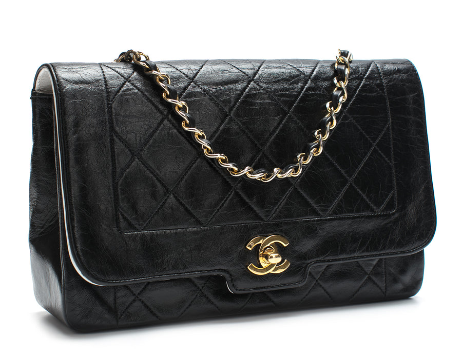 768172f5922 Chanel Black White Interior Mini Diana Vintage Flap Bag – Bella Bag