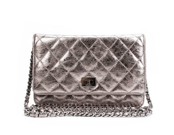 Chanel Silver Metallic Aged Calfskin Reissue WOC Wallet on Chain