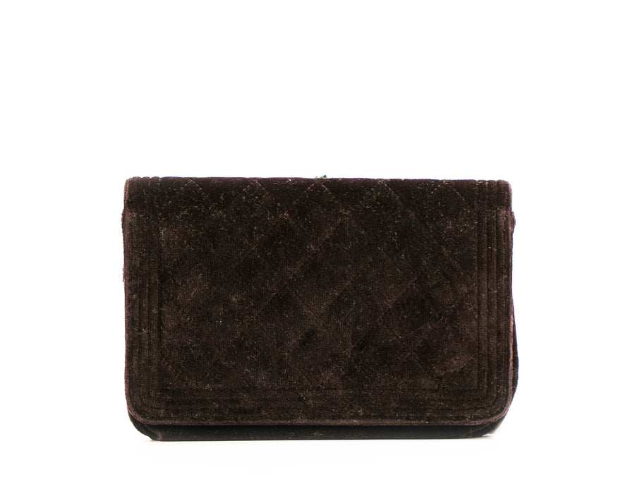 Chanel Black Velvet Boy Wallet On Chain WOC Bag