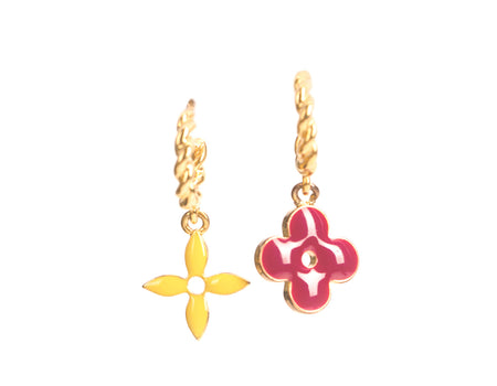 Louis Vuitton Gold Small Hoop Sweet Monogram Charm Earrings
