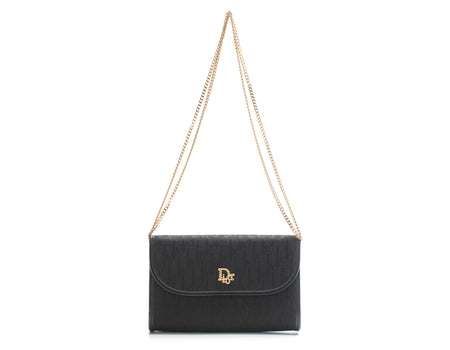 Christian Dior Black Monogram Trotteur Flap Crossbody Bag