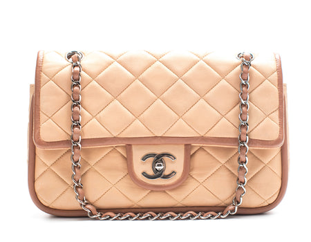 Chanel Beige Lambskin Contrast Trim Medium Double Flap Bag