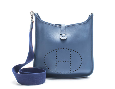 Hermes Brighton Blue Clemence Evelyne II PM Bag
