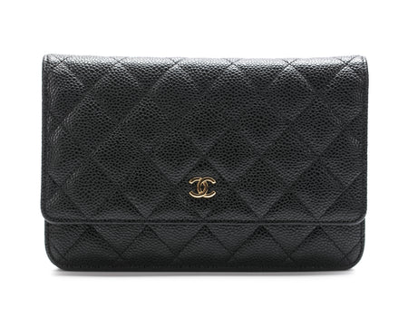 Chanel Black Quilted Caviar WOC Wallet on Chain Bag GHW