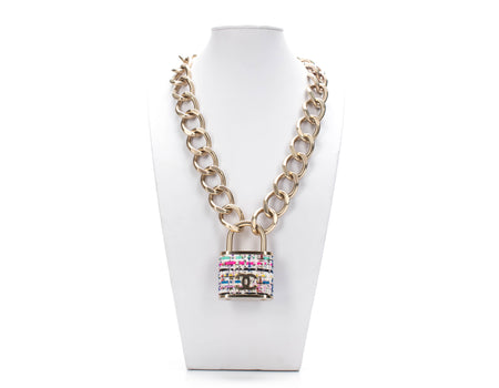 Chanel Gold Tweed CC Padlock Necklace