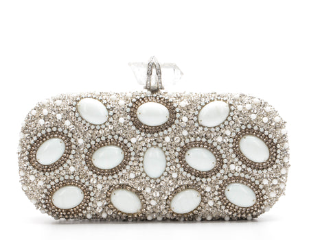 Marchesa White and Rhinestone Clutch