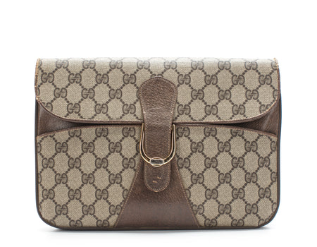 Gucci Beige Monogram GG Supreme Vintage Clutch Bag
