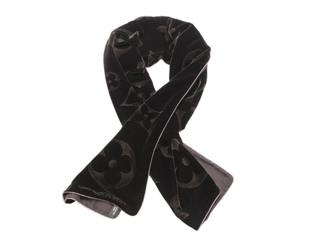 Louis Vuitton Noir Monogram Velours Silk Mousseline Long Scarf