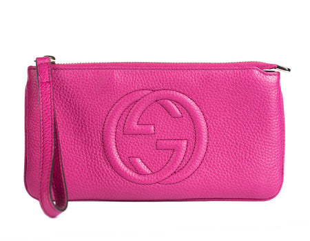 Gucci Berry Soho GG Zip Top Wristlet Pochette Bag
