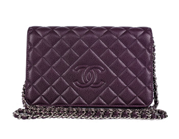 Chanel Diamond Quilted Purple Caviar Wallet on Chain WOC Bag