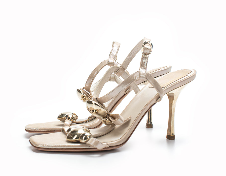 Christian Dior Gold T-Strap Bow Sandals Sz 36