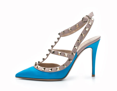 Valentino Cerulean Blue Leather Rockstud T-Strap Pumps Size 36.5