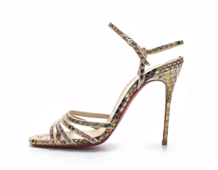 Christian Louboutin Multicolor Python Ankle Strap Sandals Sz 36.5