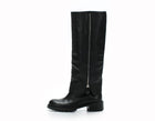Fendi Black Leather Flat Zip Zucca Boots Sz 36