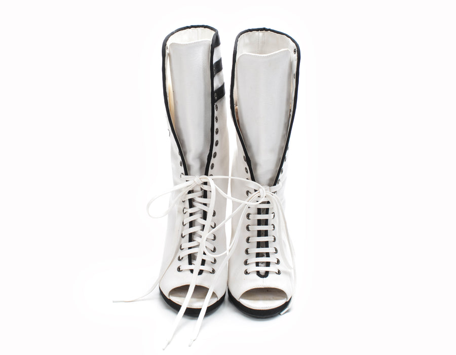 Chanel White and Black Canvas 'CC' Stitched Peep Toe Wedge Sneaker Boots Sz 36