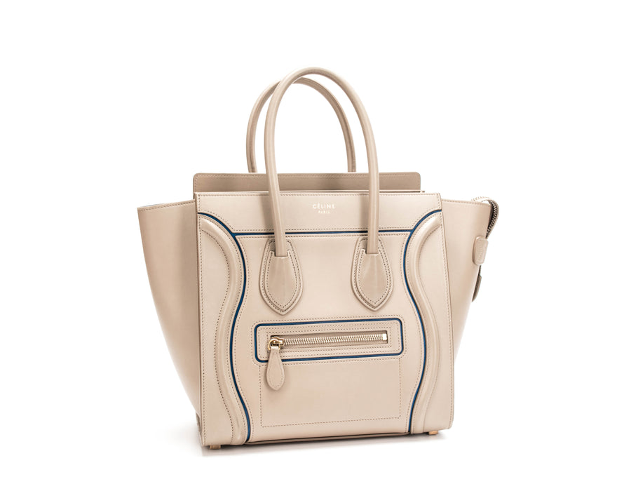 Celine Taupe Smooth Calfskin Blue Trim Micro Luggage