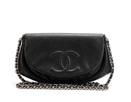 Chanel Black Caviar Half Moon WOC Wallet On Chain Bag