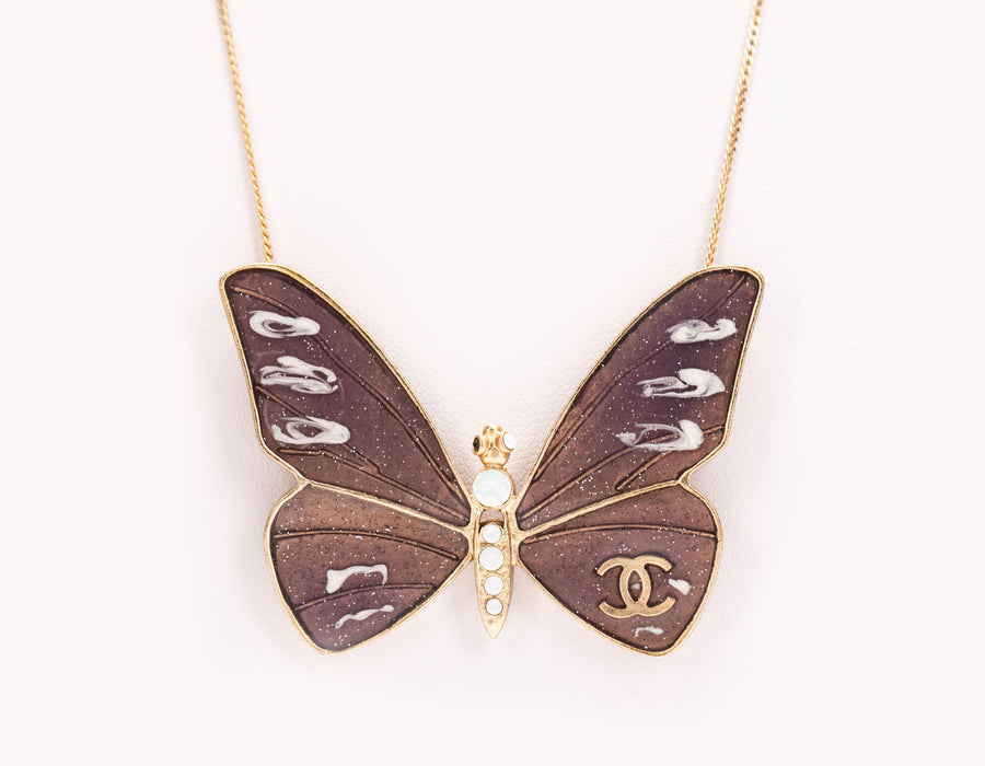 Chanel Brown Butterfly Necklace