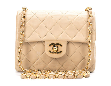 Chanel Beige Lambskin Vintage Mini Flap Bag
