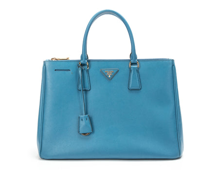 Prada Nautic Blue Saffiano Double Zip Lux Tote Bag