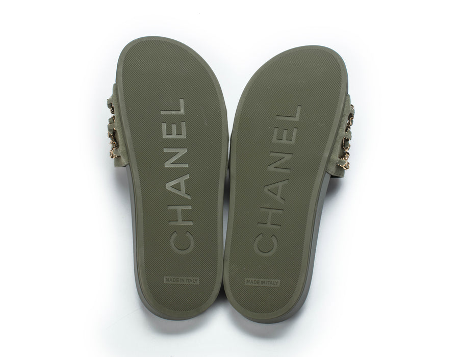 Chanel Khaki Canvas and Chain Flap Sandals Sz 38