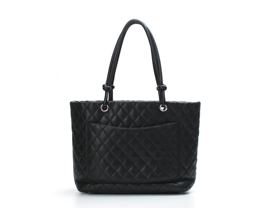 Chanel Black Lambskin Black CC Large Cambon Tote Bag