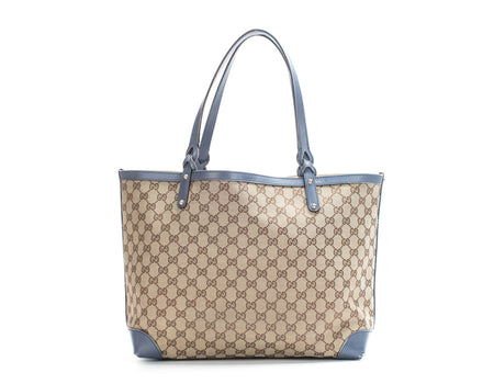 Gucci Beige Monogram Canvas Blue Trim Original Craft Tote Bag