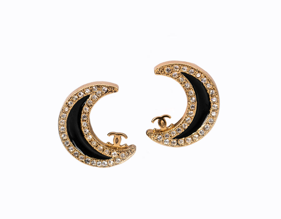 Chanel Black Enamel Crescent Moon Gold Clip On Earrings
