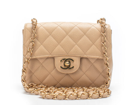 Chanel Beige Caviar Mini Flap Bag