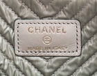 Chanel Grey Lambskin Chevron Foldover Boy Clutch Bag