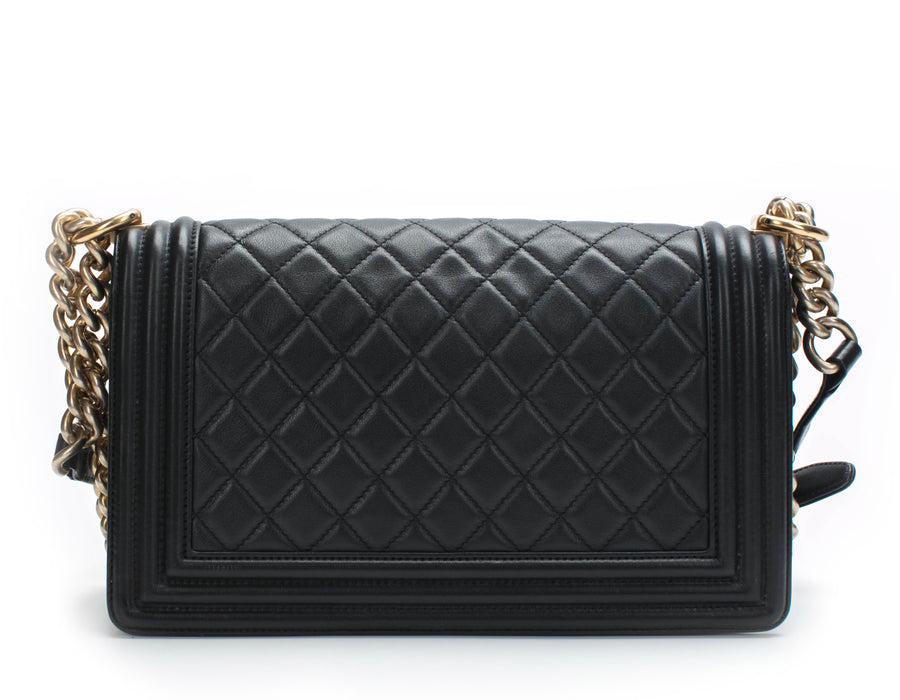 Chanel Black Calfskin Old Medium Boy Bag GHW