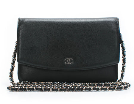Chanel Black Caviar Sevruga WOC Wallet On Chain