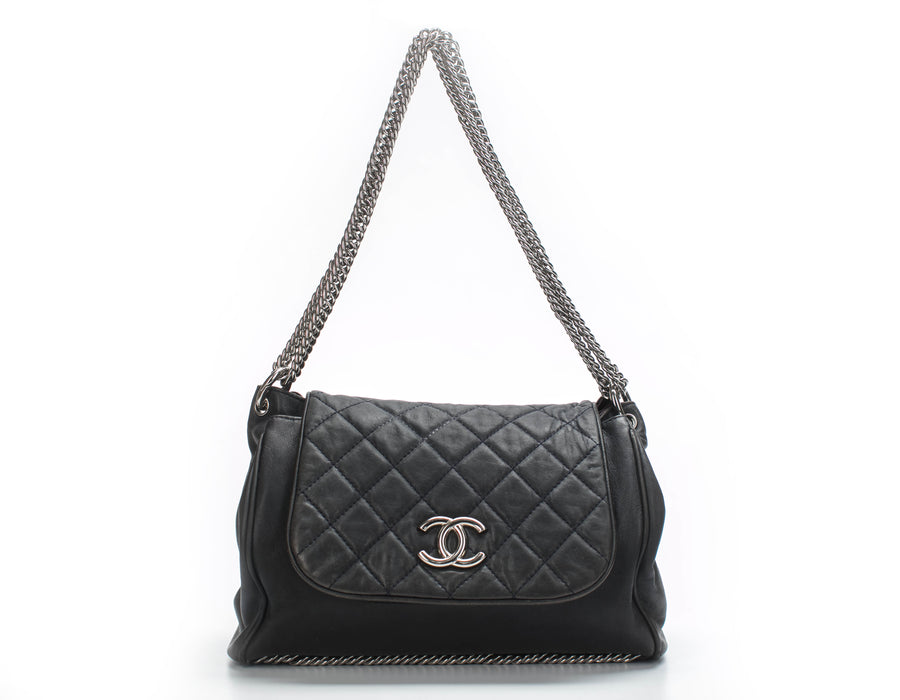 Chanel Navy Blue Lambskin Accordion Flap Bag