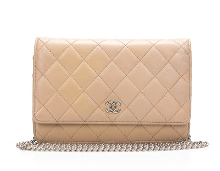 Chanel Beige Lambskin Quilted WOC Wallet on Chain Bag