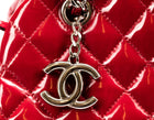 Chanel Red Patent Leather Mademoiselle Bowling Bag