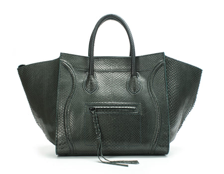Celine Forest Green Python Medium Phantom Tote Bag