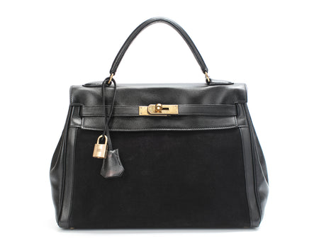 Hermes Black Courchevel and Toile Canvas Kelly 32cm Bag