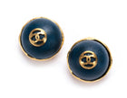 Chanel Gold CC Navy Stone Clip On Earrings