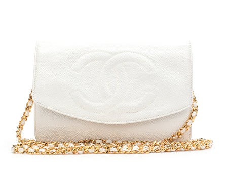 Chanel White Caviar CC Envelope WOC Wallet On Chain