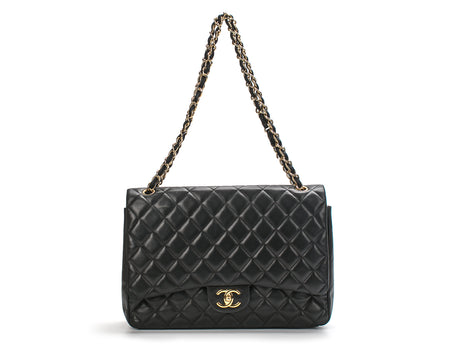Chanel Black Lambskin Maxi Double Flap GHW